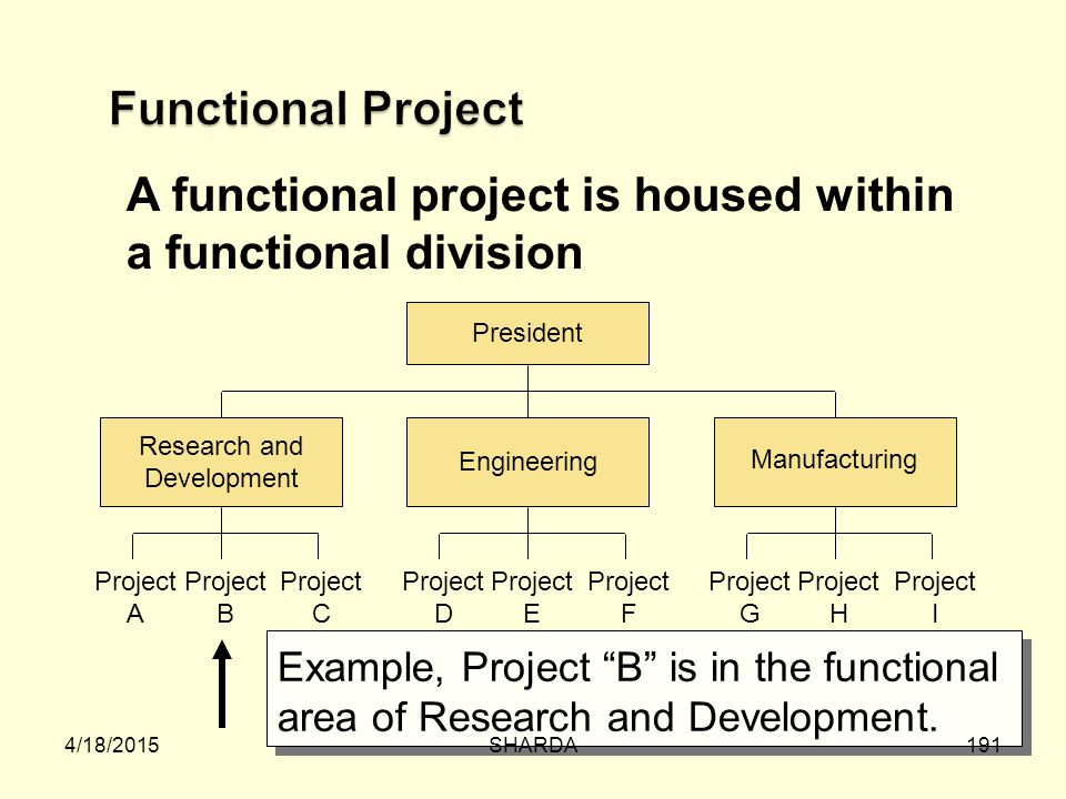A functional project is housed within a functional division