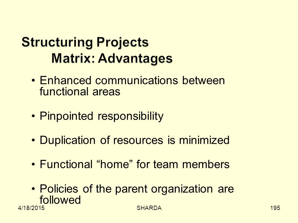 Structuring Projects Matrix: Advantages
