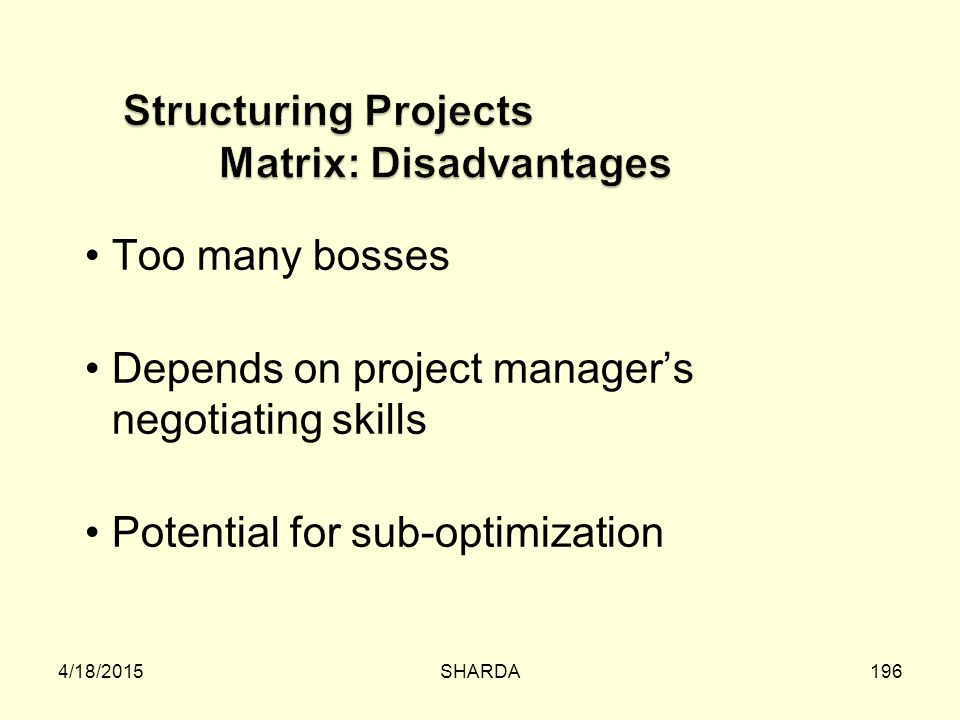 Structuring Projects Matrix: Disadvantages