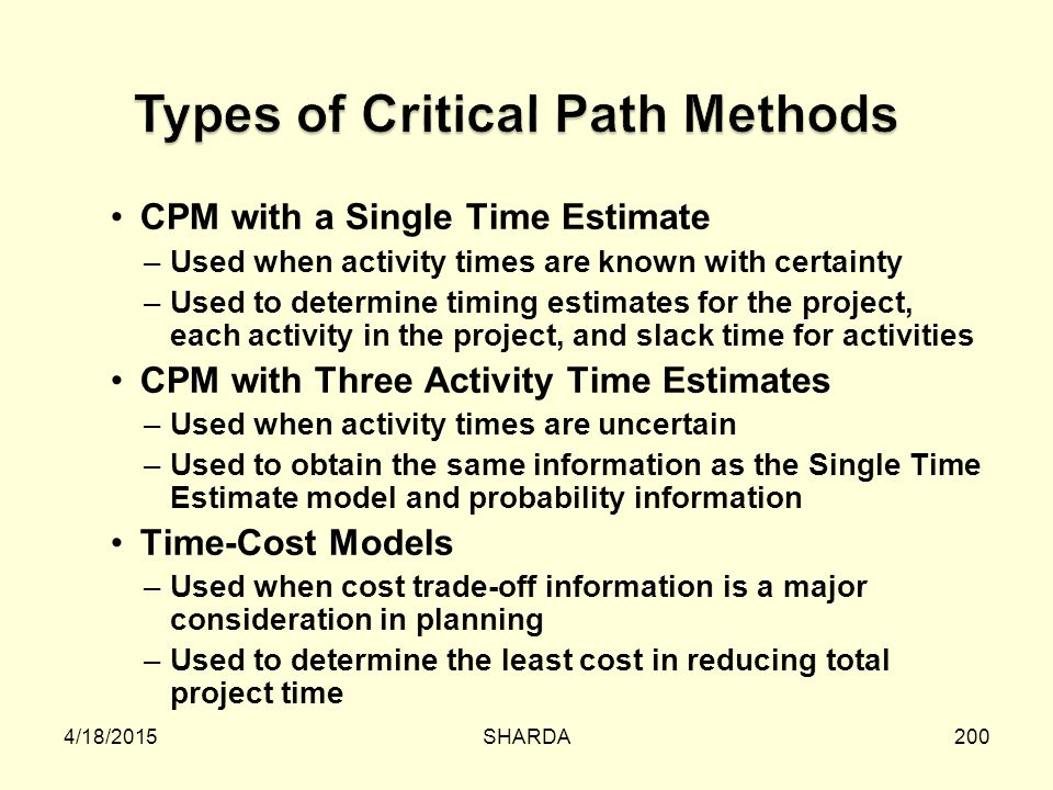 Types of Critical Path Methods