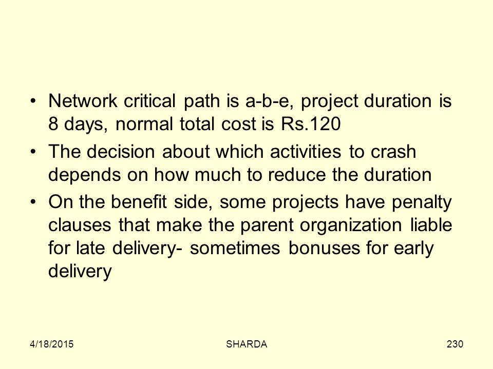 Network critical path is a-b-e, project duration is 8 days, normal total cost is Rs.120