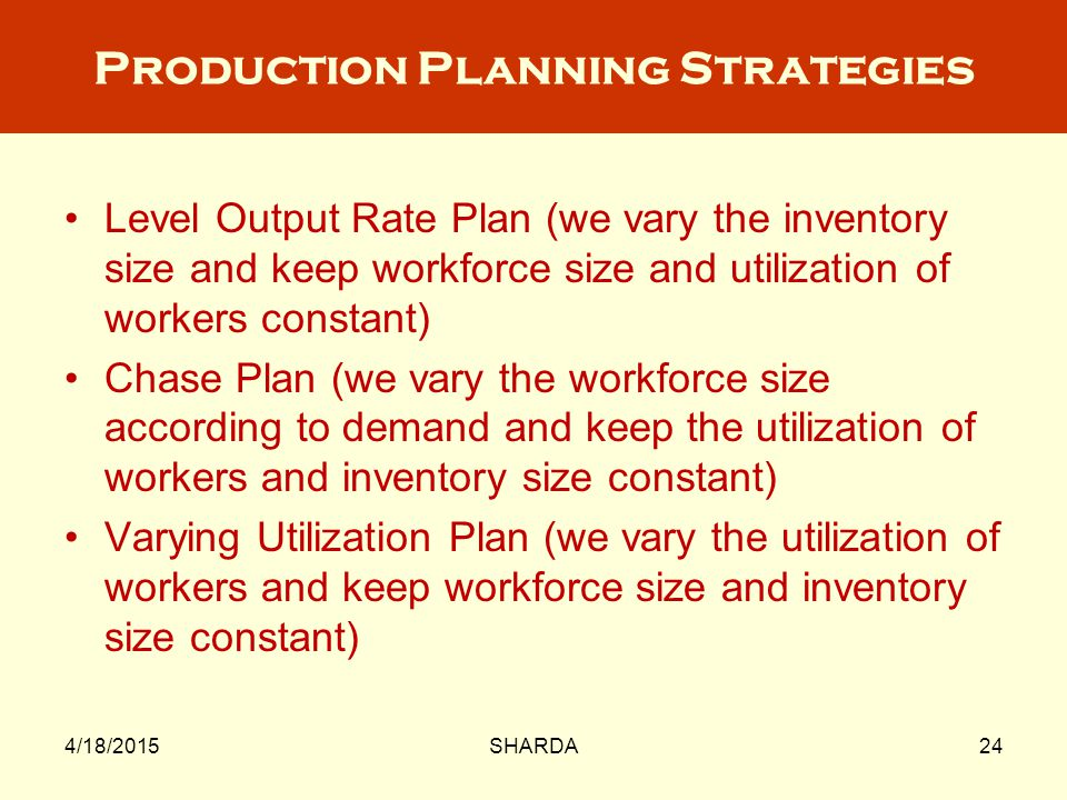 Production Planning Strategies