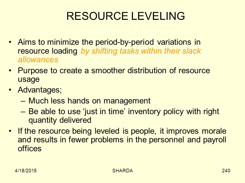 RESOURCE LEVELING Aims to minimize the period-by-period variations in resource loading by shifting tasks within their slack allowances.