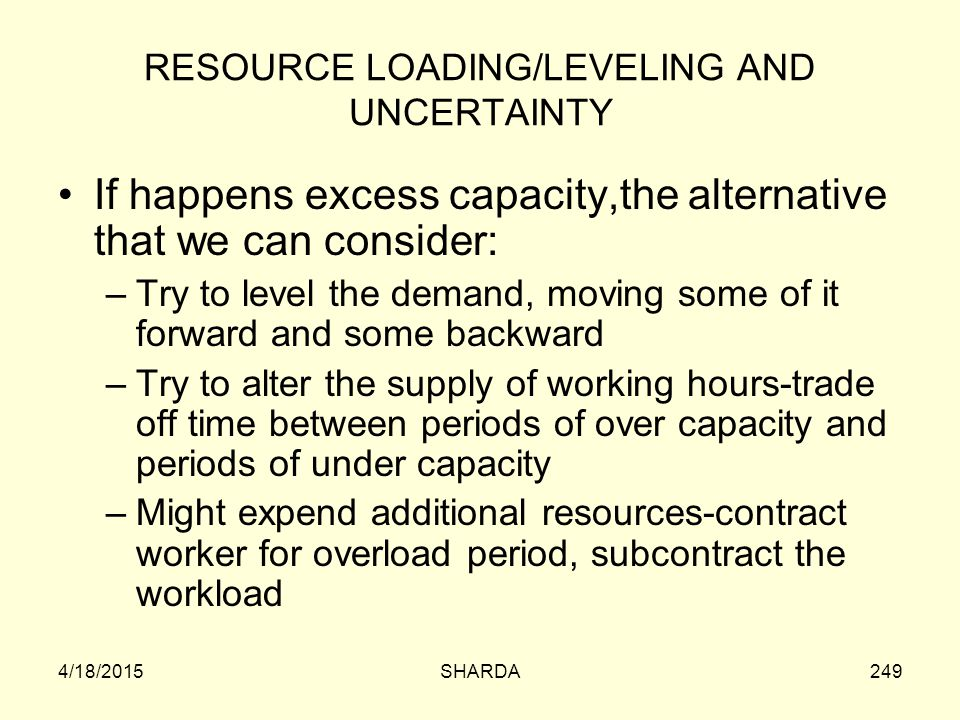 RESOURCE LOADING/LEVELING AND UNCERTAINTY