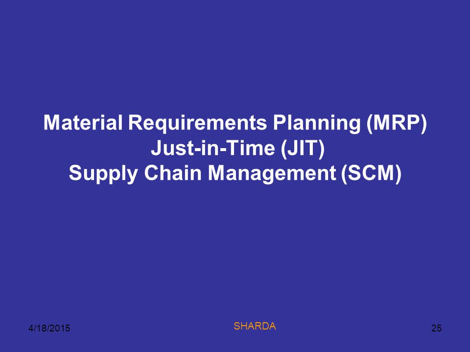 Material Requirements Planning (MRP) Just-in-Time (JIT) Supply Chain Management (SCM)