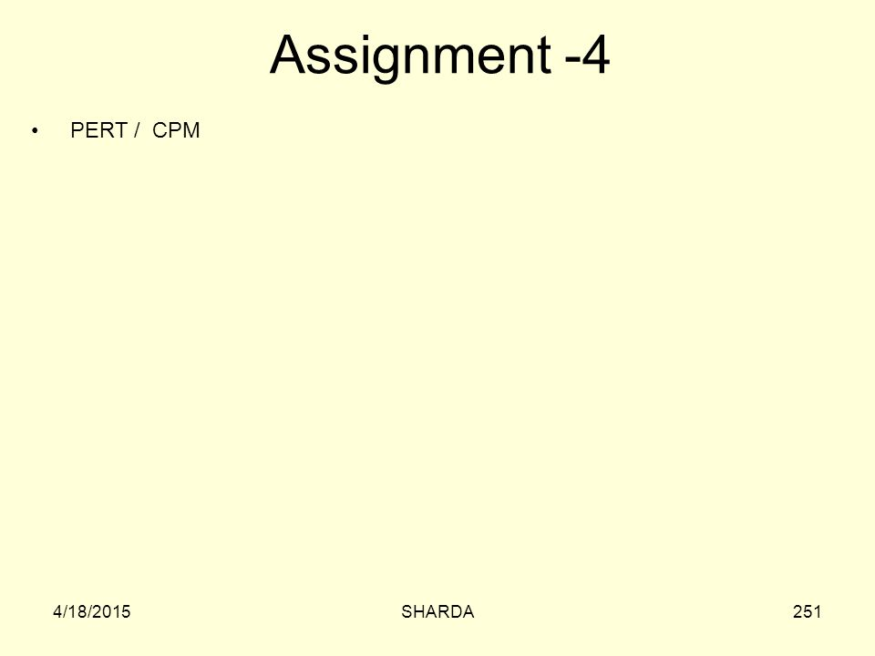 Assignment -4 PERT / CPM 4/11/2017 SHARDA