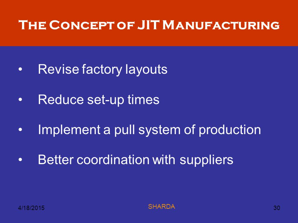 The Concept of JIT Manufacturing