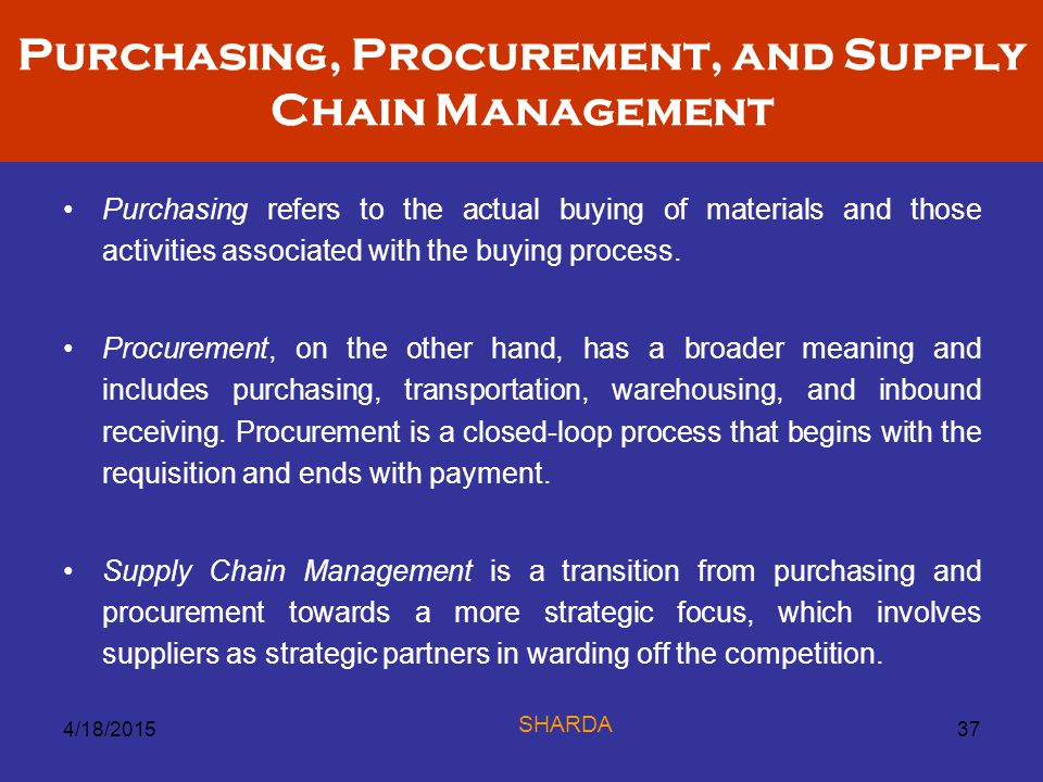 Purchasing, Procurement, and Supply Chain Management