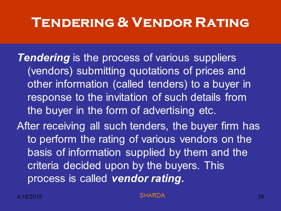 Tendering & Vendor Rating