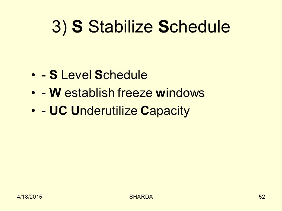 3) S Stabilize Schedule - S Level Schedule