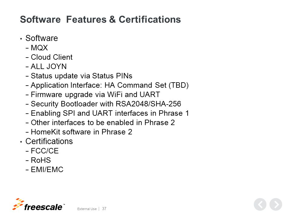 Software Features & Certifications