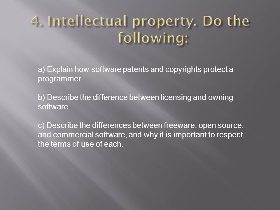 4. Intellectual property. Do the following: