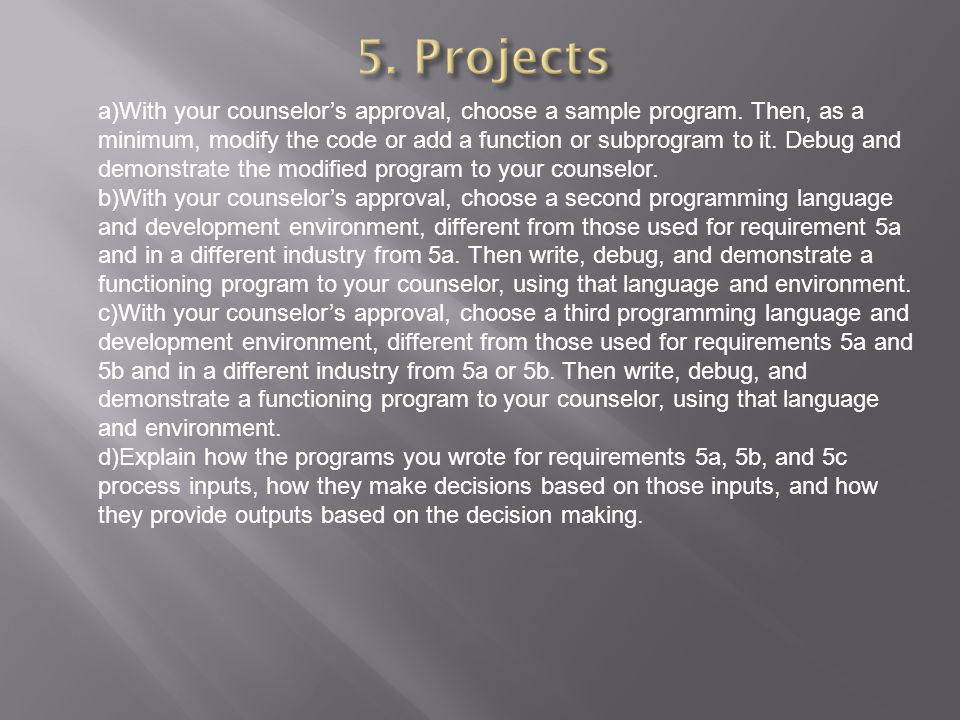 5. Projects