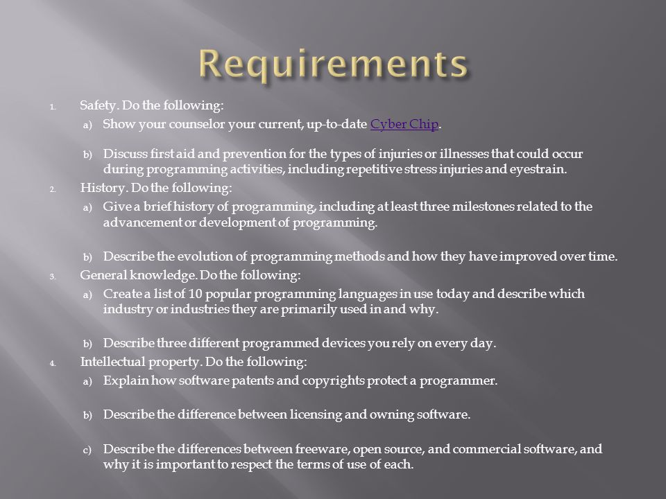 Requirements Safety. Do the following: