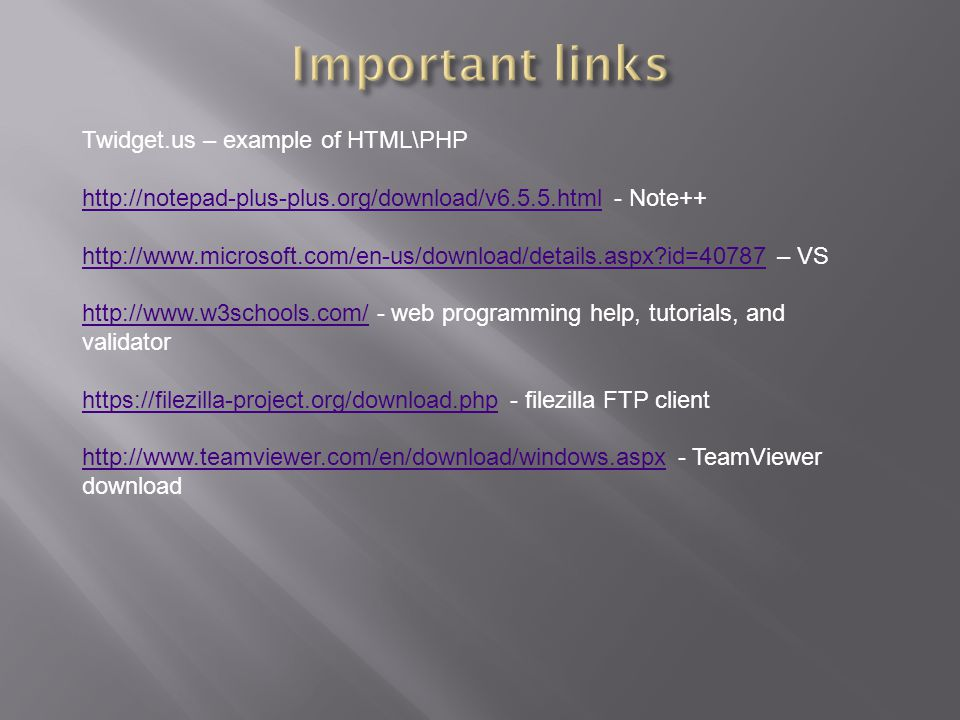 Important links Twidget.us – example of HTML\PHP