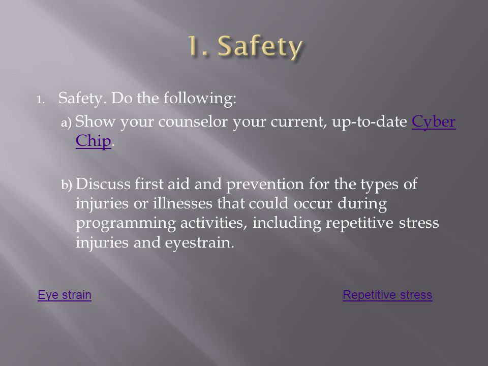 1. Safety Safety. Do the following: