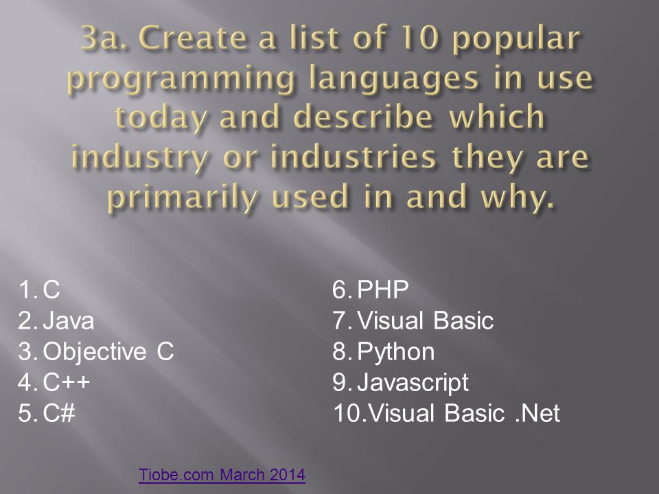 3a. Create a list of 10 popular programming languages in use today and describe which industry or industries they are primarily used in and why.