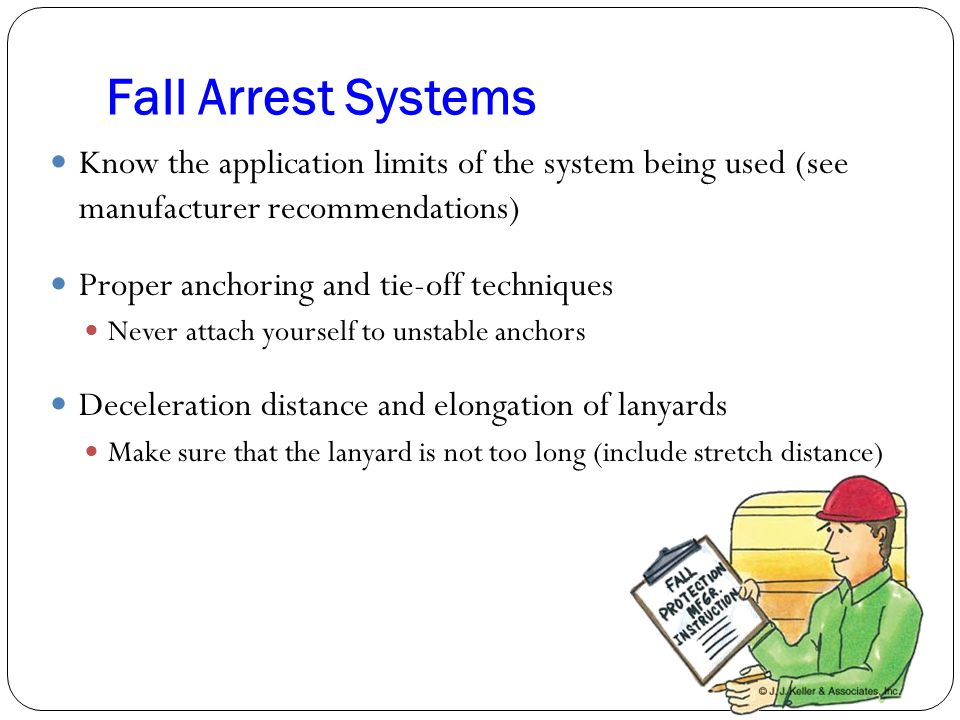 Fall Arrest Systems Know the application limits of the system being used (see manufacturer recommendations)