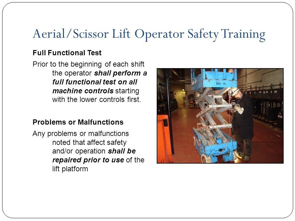 Scissor lifts ppt video online download for Scissor lift training video