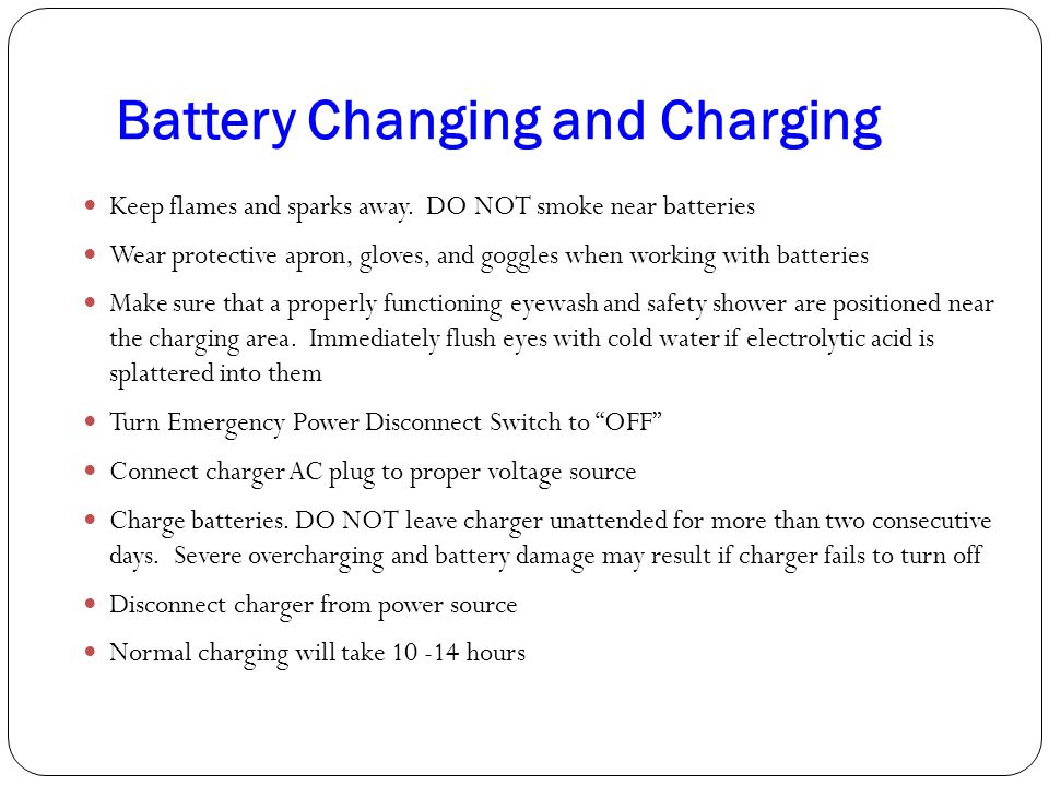 Battery Changing and Charging