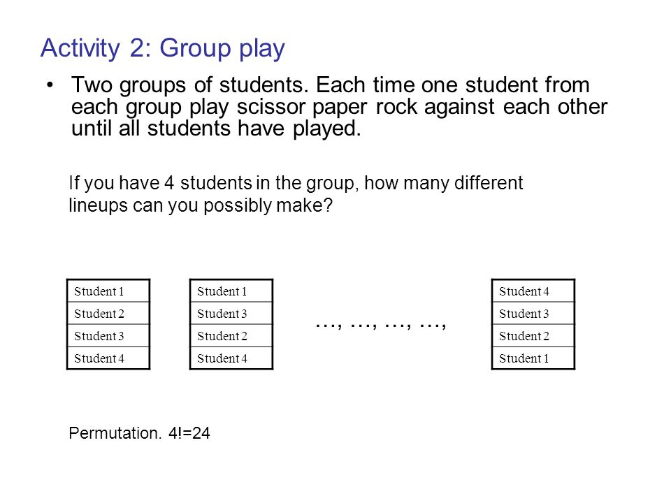 Activity 2: Group play