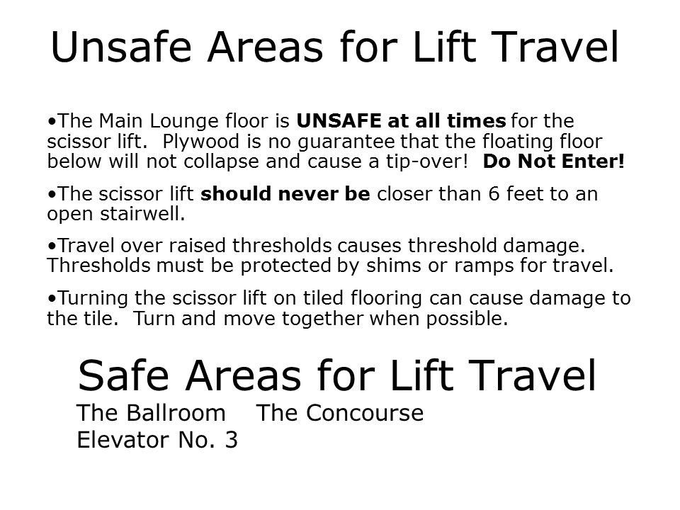 Safe Areas for Lift Travel