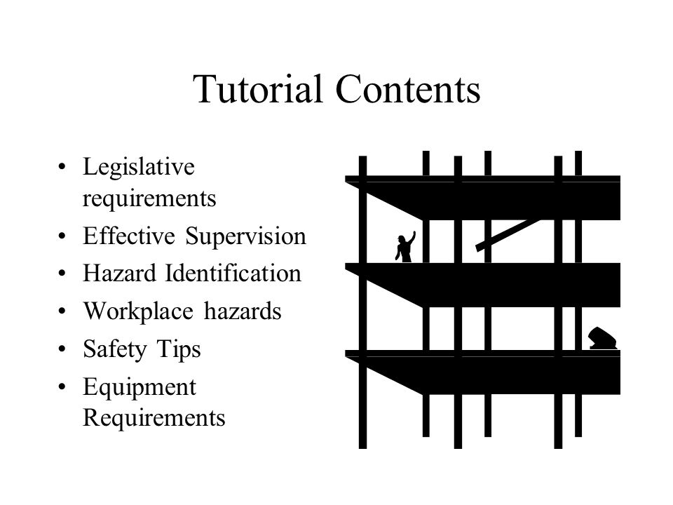 Tutorial Contents Legislative requirements Effective Supervision