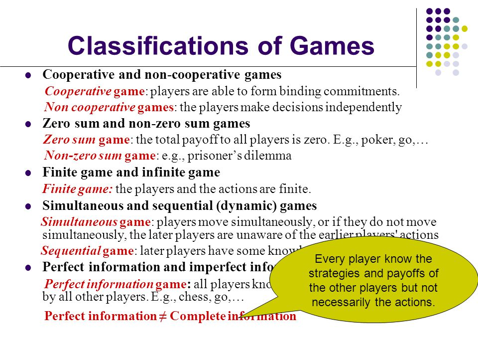 Classifications of Games