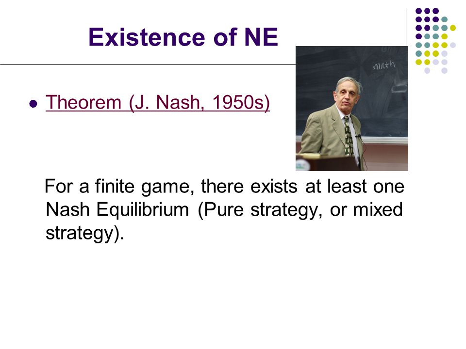 nash equilibrium existence By guilherme carmona abstract: the book aims at describing the recent  developments in the existence and stability of nash equilibrium the two topics.
