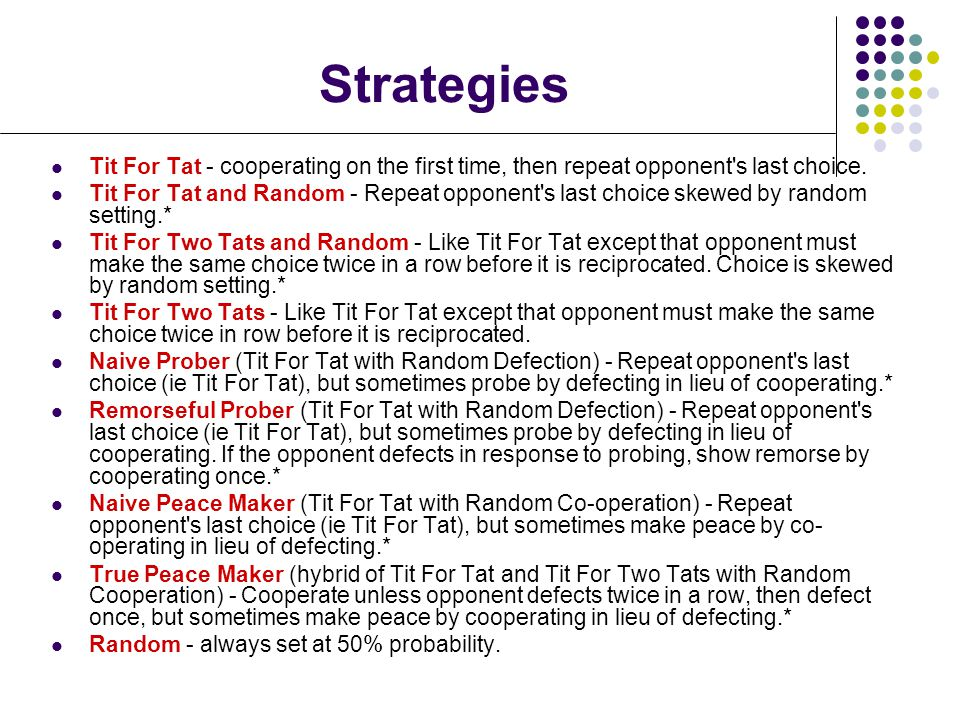 Strategies Tit For Tat - cooperating on the first time, then repeat opponent s last choice.