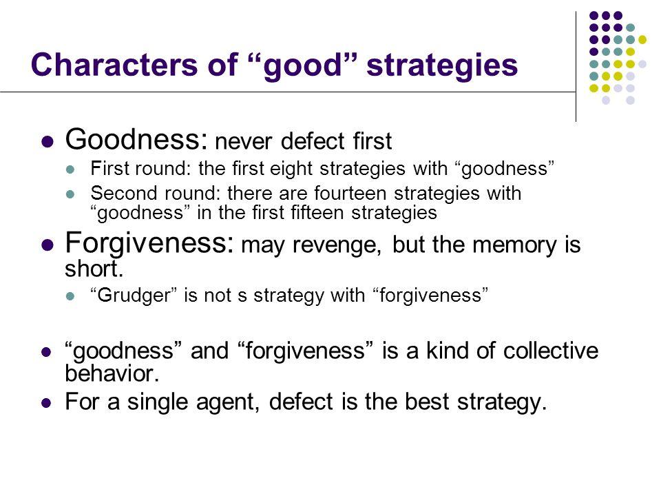Characters of good strategies