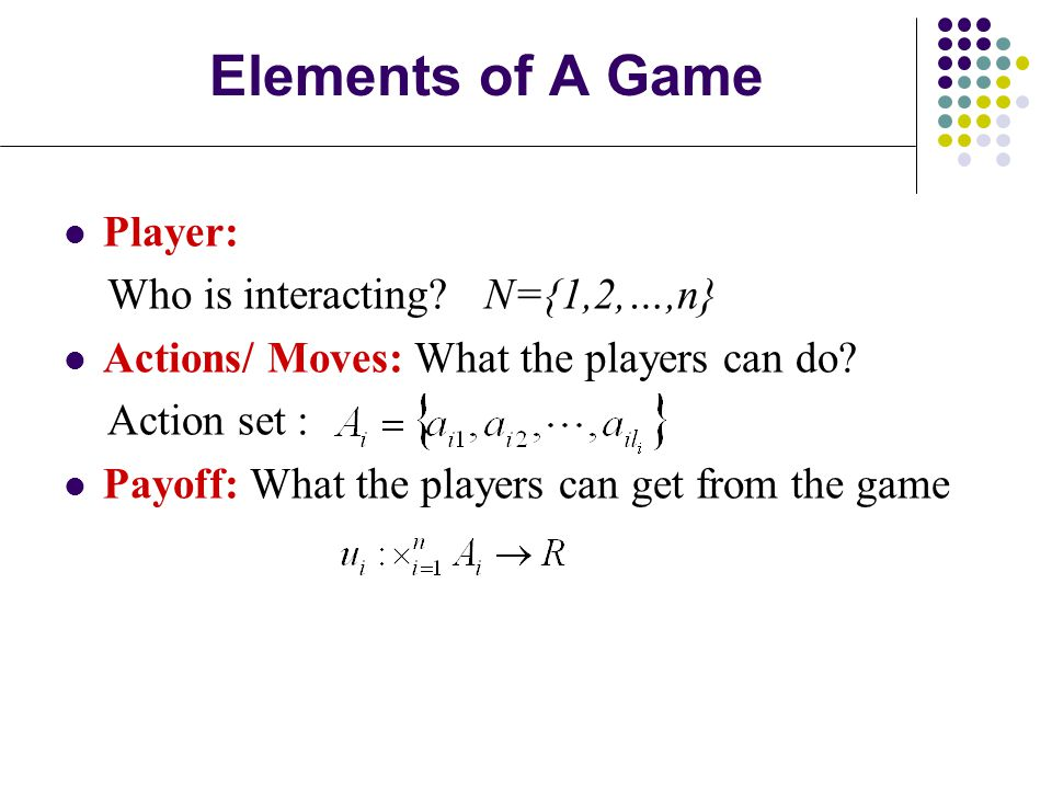Elements of A Game Player: Who is interacting N={1,2,…,n}