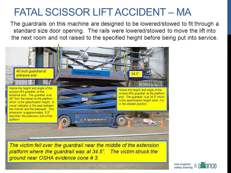 Fatal scissor lift accident – Ma