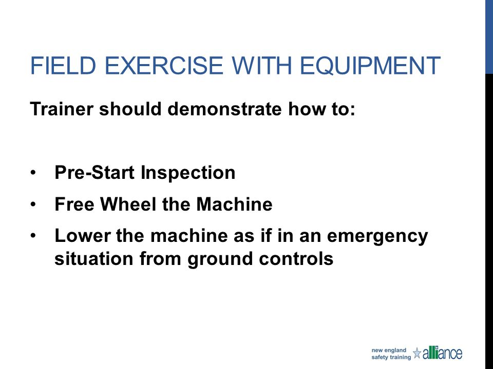 Field exercise with equipment