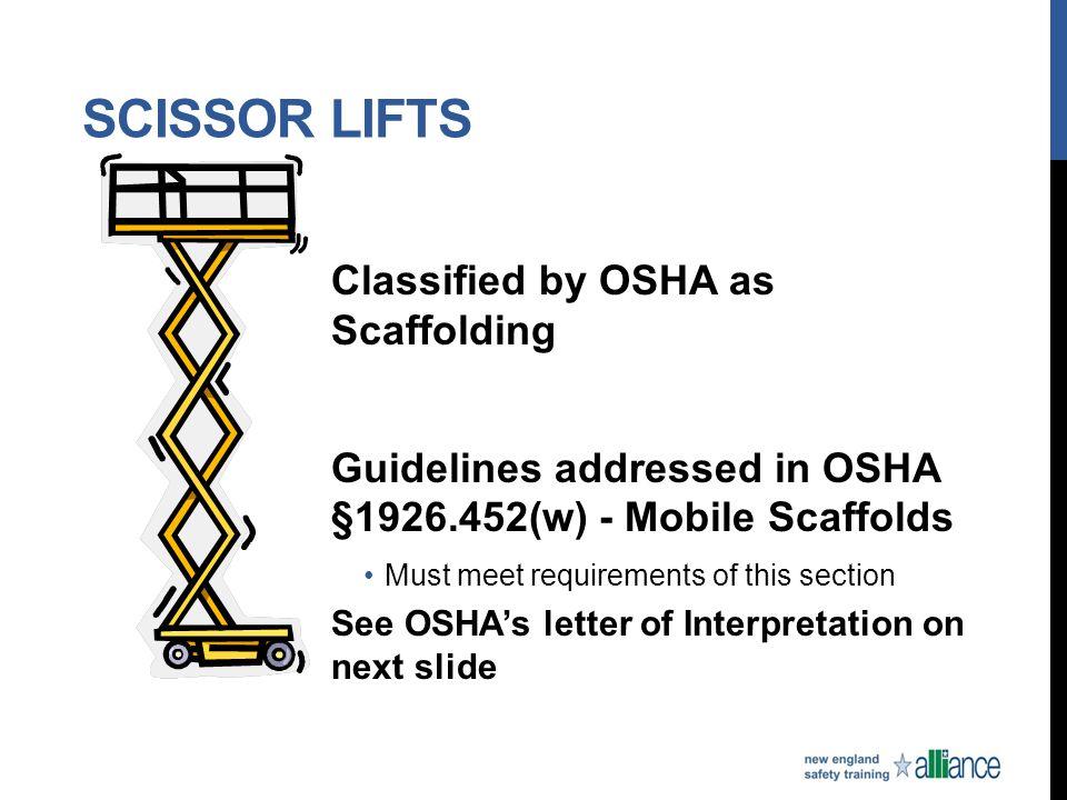 Scissor Lifts Classified by OSHA as Scaffolding