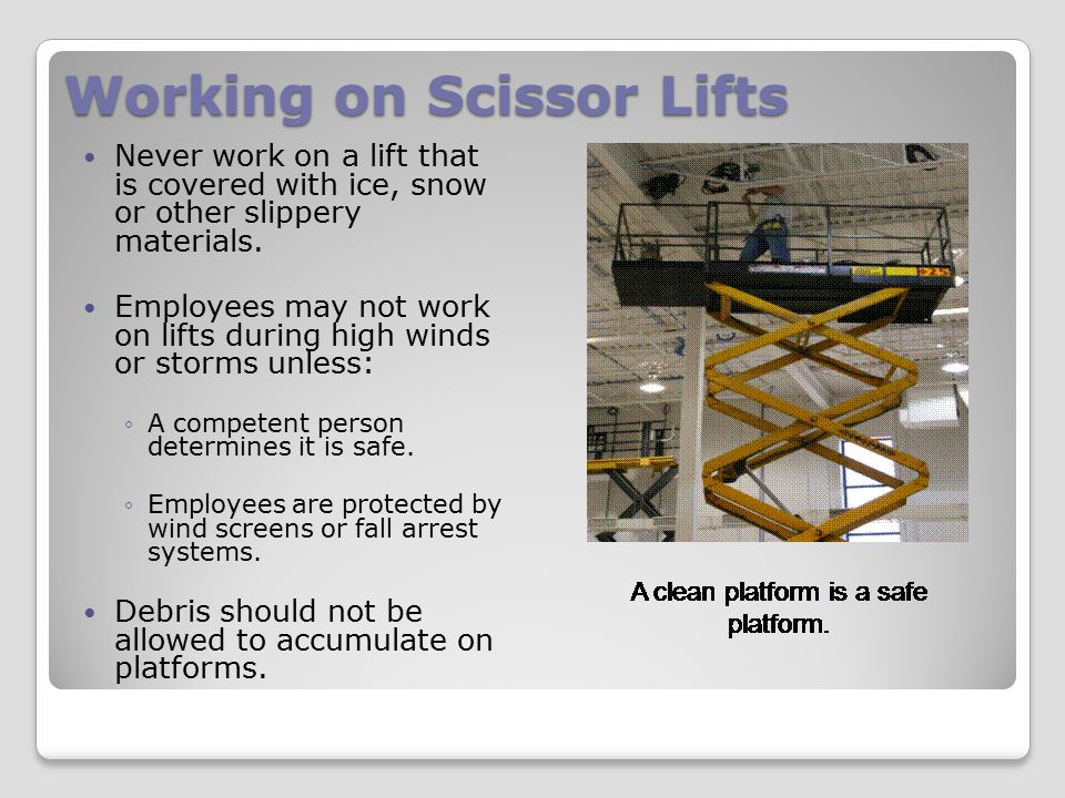 Working on Scissor Lifts