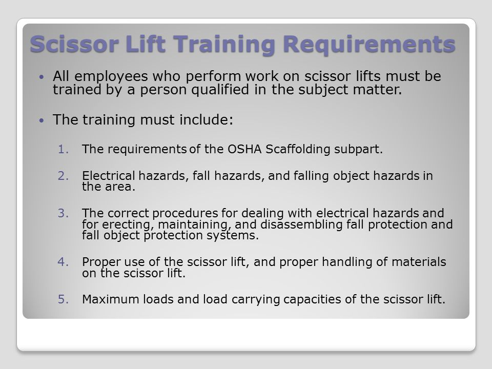 Scissor Lift Training Requirements