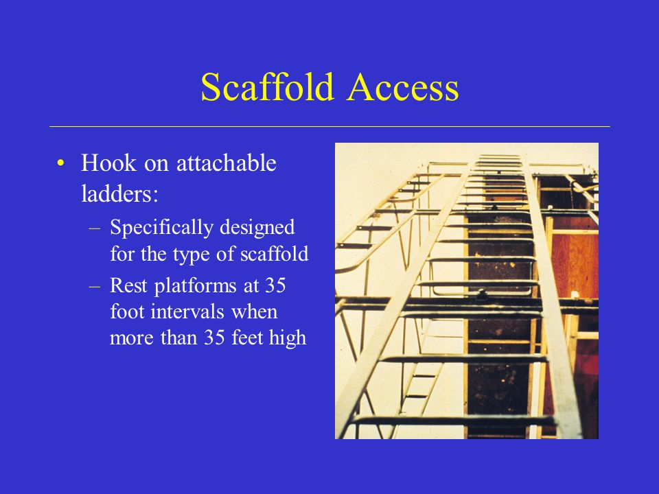 Scaffold Access Hook on attachable ladders: