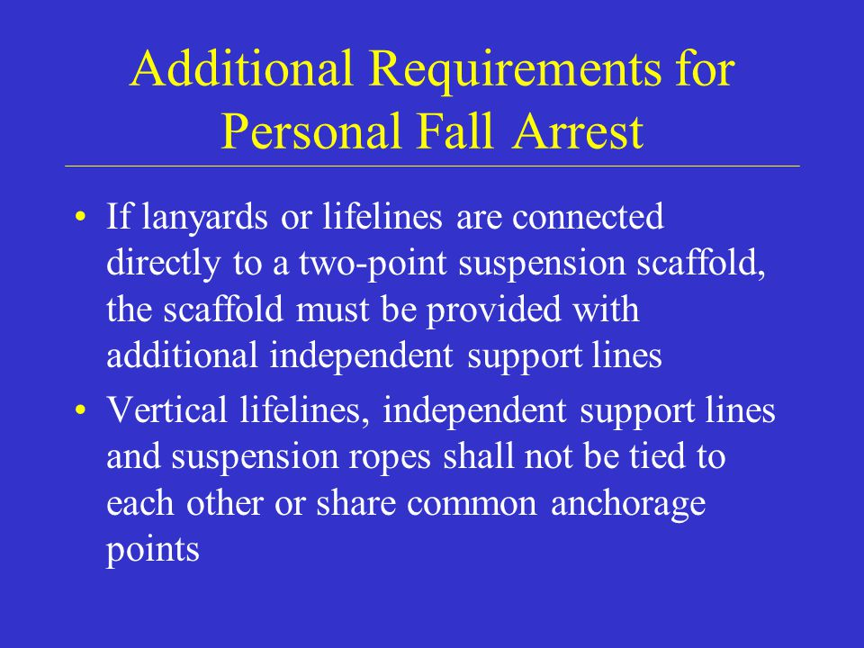 Additional Requirements for Personal Fall Arrest
