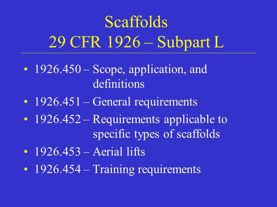 Scaffolds 29 CFR 1926 – Subpart L