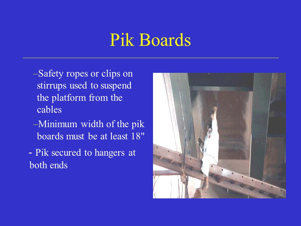 Pik Boards - Pik secured to hangers at both ends
