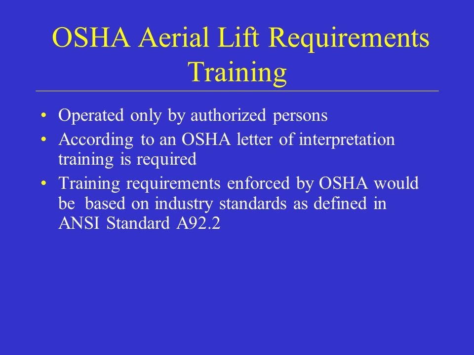 OSHA Aerial Lift Requirements Training