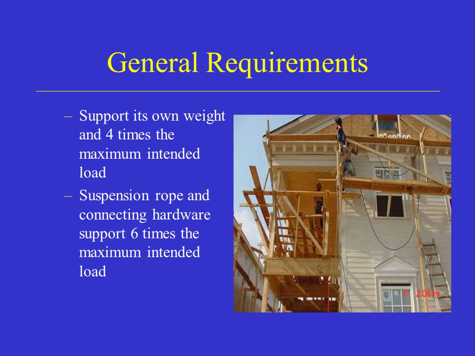 General Requirements Support its own weight and 4 times the maximum intended load.