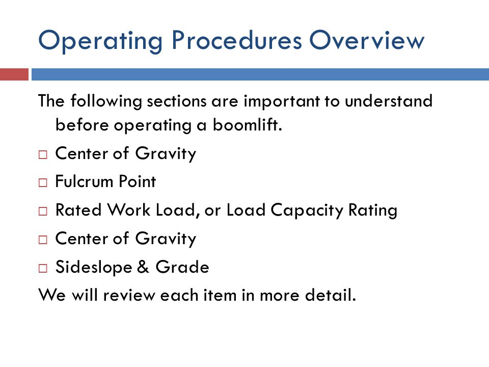 Operating Procedures Overview