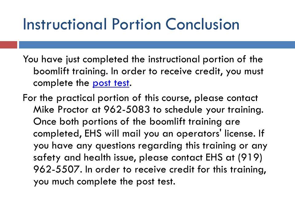 Instructional Portion Conclusion