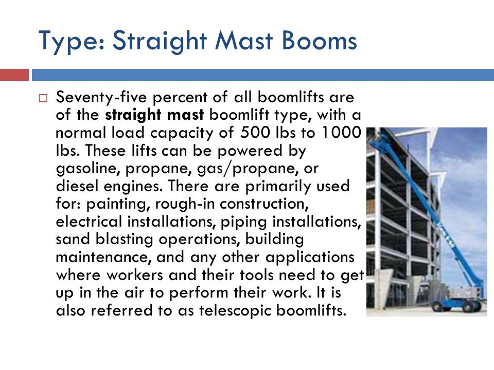 Type: Straight Mast Booms