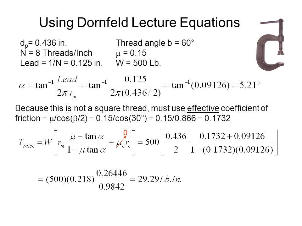 Using Dornfeld Lecture Equations