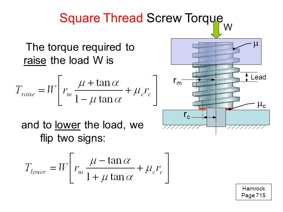Square Thread Screw Torque