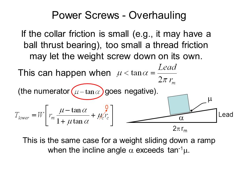 Power Screws - Overhauling