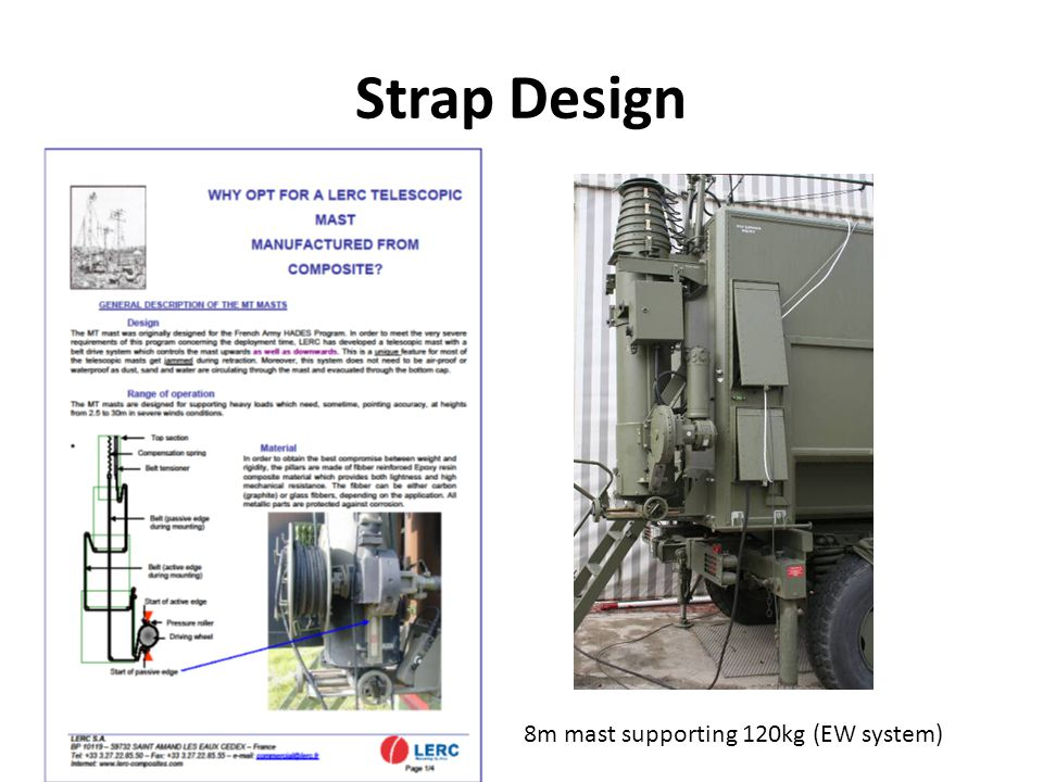 Strap Design 8m mast supporting 120kg (EW system)